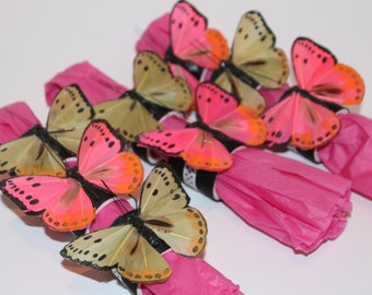 Butterfly Pink/Beige Napkin Rings Set of 8