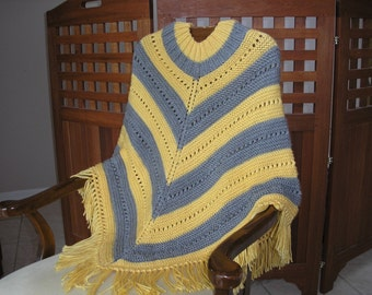 Knitted Ladies Poncho - Sunshine and Grey Stripe