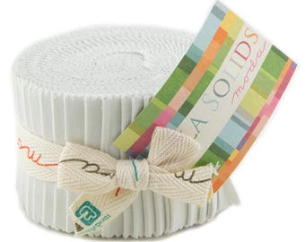 "Moda Bella Solids Feather Junior Jelly Roll 2.5"" Precut Fabric Quilting Cotton Strips 9900JJR-127"