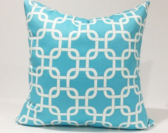 """Girly Blue / White Twill Pillow Cover, Lumbar Pillow Case, Gotcha Link Girly Blue Nursery Decor, 18x18"""" and Many More"""