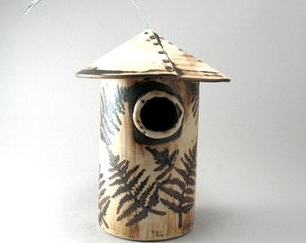 Bird House-Hand Built- Stoneware-Fern Leaf