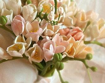 fresia bride, bride bouquet, cold porcelain, fresia bride bouquet, rustic bouquet, bride gift, flower accessory, bridesmaid bouquet, bridal