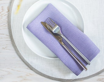 Lavender linen napkins Wedding decor napkins Set 4 table napkins cloth Wedding party napkins Purple dinner napkins Easter table napkins