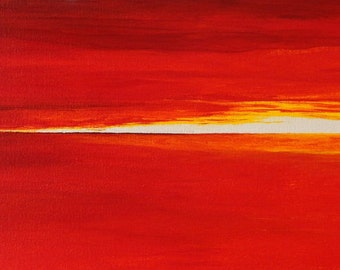 He Spoke for Far Horizon. Abstract impressionist seascape.  Original acrylic painting. Red and yellow seascape.  10 in. x 36 in. x 1.5 in