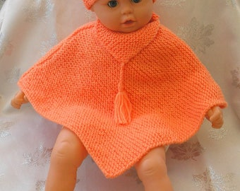 Poncho and apricot wool baby hat size 3 months