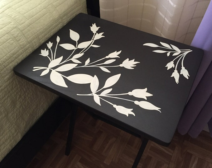 TV Tray Table, Wood Folding TV Tray, Custom Folding Coffee Table, Flower Designed table, New house gift.
