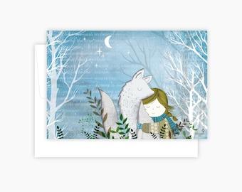 Carte de note - hiver Fox