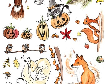 Sticker set 1 autumn forest