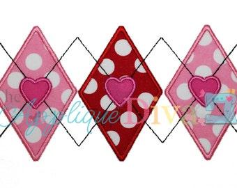 Valentine's Day Heart Argyle Embroidery Design Machine Applique