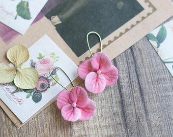 Dangle flower earrings - pink flower earrings - hydrangea earrings - hydrangea jewelry - long flower earrings - garden wedding