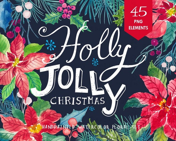 Watercolour Floral Clipart. Handmade, watercolour clipart, winter, flowers - Holly Jolly Elements