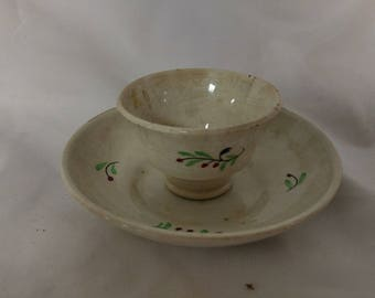 Mid 1800s Antique Hand Painted HandleLess Porcelain Tea Cup with Saucer Vines and Berries