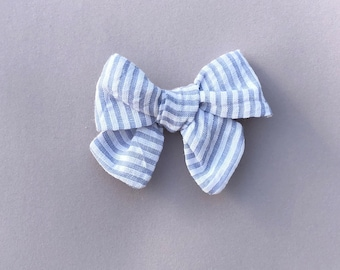 Handmade Hand Tied Blue and White Stripe Bow