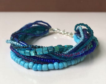Multi-layered Blue Turquoise Bracelet, Multistrand Bracelet Shades of Blue, Boho-chic Jewelry
