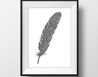 Feather Line and Circle Illustration Print - Ink- Drawing - Art