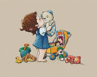 Little girl with her toys pdf counted cross stitch pattern little mom with toy bear instant download pdf pattern cross stitch for girl