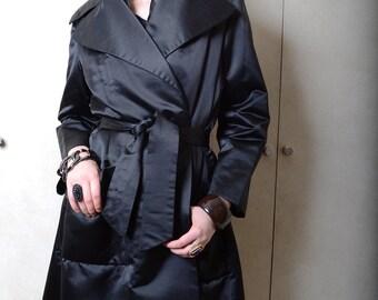 Vintage Black Satin Evening Coat