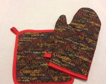 Coffee/cappuccino inspired insulated/quilted pot holder and oven mitt set