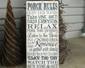 Porch Rules -- Painted Wooden Subway Art Sign - Porch Welcome Sign - Typography Sign -