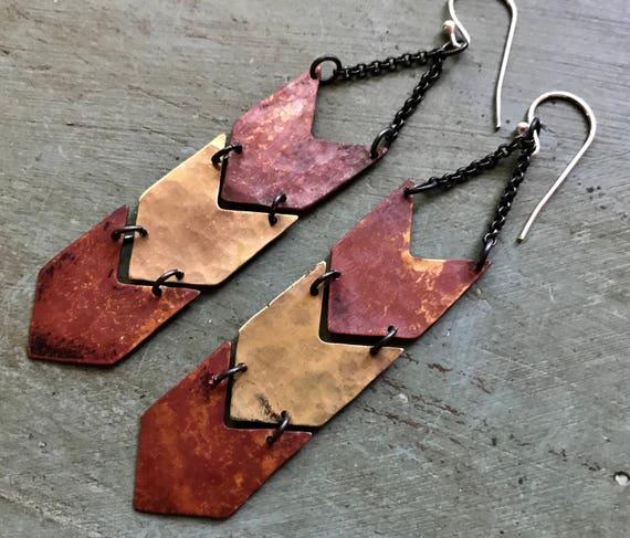 Copper and Brass Chevron Earrings - Triple