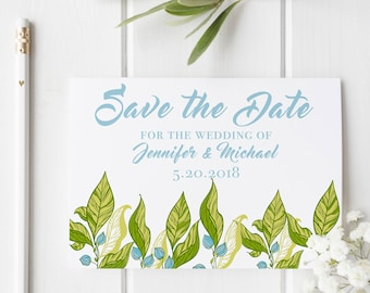 Green floral save the date, save the date template, 5x7 save the date, floral themed wedding, nautical themed wedding card