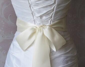 Double Face Ivory Satin Ribbon, 2.25 Inch Wide, Ribbon Sash, Bridal Sash, Wedding Belt, 4 Yards