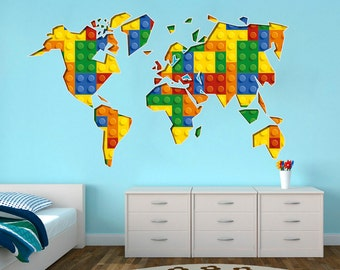 World map wall decals wall stickers country names text world map playroom building blocks bricks kids decor wall decals gumiabroncs Images