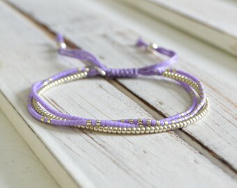 Delica Mix Beaded Thread Bracelet - Lilac & Silver