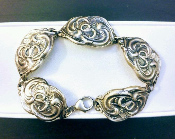 Flower Link Bracelet, Tiger Lily Jewelry, Sterling Silver Bracelet, Stargazer Lily, Gardener Gift, Bracelet Size 6.5, Lobster Clasp (B6808)
