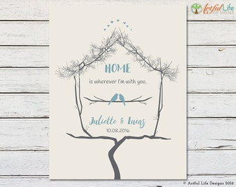 ANNIVERSARY GIFT, First Anniversary, Home Wall Decor, Home Quote, Gift for Couples, Newlywed Gift, Housewarming Gift, New Home Gift