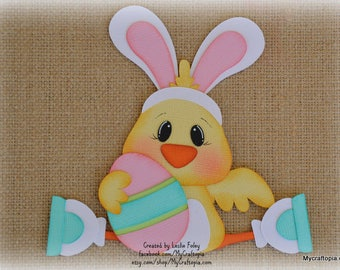 Easter Chick with egg Premade Scrapbooking Embellishment Paper Piecing