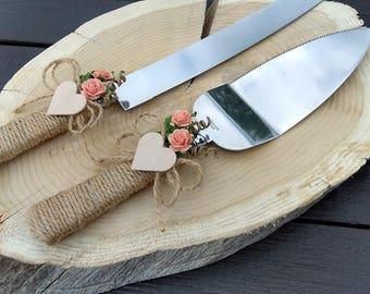 Rustic chic wedding cake cutter, Coral cake cutter, Wedding cake server set, Country wedding cake cutting, Cake server & cake knife set