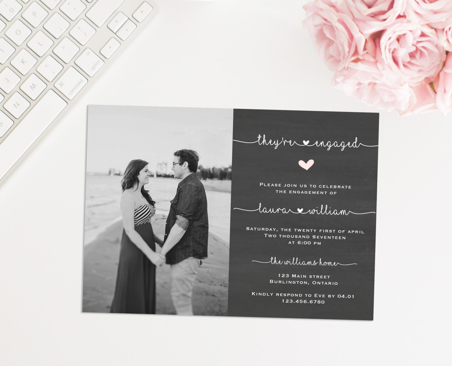 Photo Engagement Party Invite Printable Engagement Party