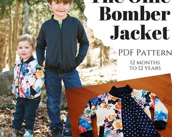 Children's Ollie Bomber Jacket PDF Sewing Pattern (size 12mo to 12yrs)