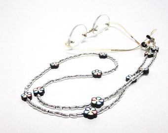 Eyeglass Lanyard Silver Black Glasses Holder Chain