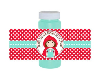 Little Red Riding Hood Bubble Bottle Labels | Printable for 4 oz. bottles | Instant Download