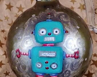Retro Robot Space Ornament, Little Robot Ornament, Space Ornament, Hand Painted Robot, Robot Christmas, Geek Christmas, Sci-Fi Ornament