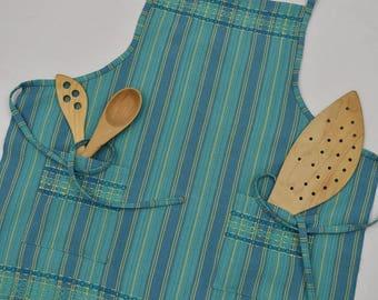 Handwoven Cotton Apron in Blue Green Ap05b