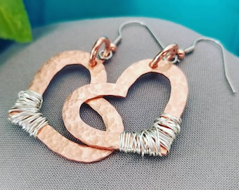 Rustic + Cooper Wire + Sterling Silver + Heart Dangles + Love + Perfect Gift + Friendship Earrings + Copper and Sterling Silver