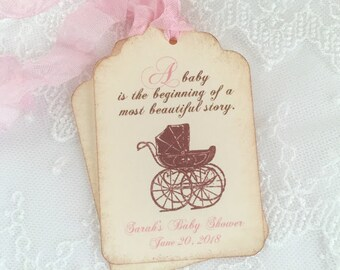 Girl Storybook Tags Baby Shower Pink Favor Tags Personalized Carriage Pram Set of 10