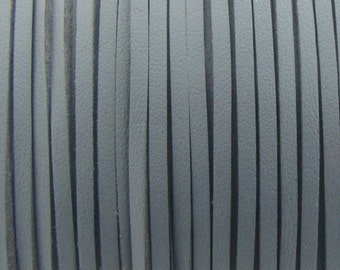 3mm flat faux suede/ leather cord,dark gray,3X1.5mm,1-5yards