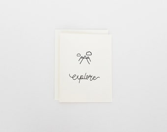 Explore Card - Mountain Greeting Card - Oh Goodness Paper Co