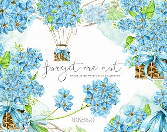 Forget Me Not ClipArt Watercolor Flowers Handpainted Floral Blue Green Hot Air Balloon Romantic Original Digital Invitation Wedding DIY Pack