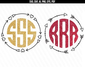 Circle Monogram frame svg, Circle arrow monogram svg, Arrow circle svg, dxf cut files, Cricut, Silhouette - svg,dxf,eps,png,pdf,ai
