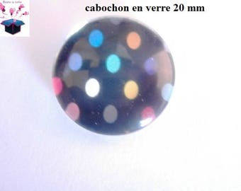 1 cabochon clear 20mm multi color polka dots theme