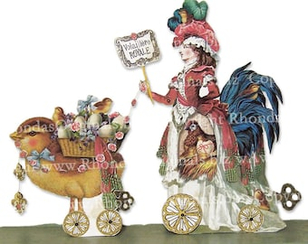 Easter Decoration, Rooster And Chicks Poultry Paper Doll Centerpiece Or Marie Antoinette 3D Easter Card - Digital INSTANT Download MA13M