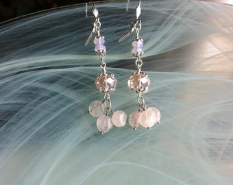 Romantic and bohemian earrings, pink quartz, pink crystal, pink opals