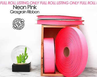 Neon Pink Grosgrain Ribbon Full Roll Only - 4 widths - Berwick Offray Neon Pink ribbon - USA made neon pink grosgrain ribbon -  (2550)