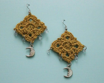 Celestial Moon Beaded Drop Earrings / Gold Crochet Bohemian Opalescent Earrings / Handmade Hipster Jewelry