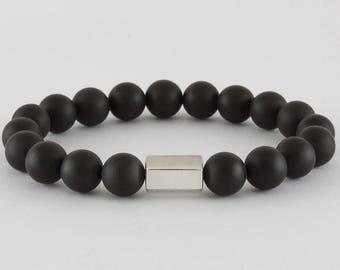 Timeless Hexagonal Bracelet in Sterling Silver & Onyx, handcrafted
